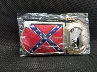 Rebel Flag Shiny Metal Bottle Opener Magnet