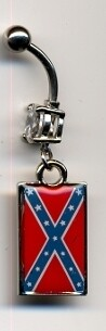Confederate Battle Flag Belly Ring