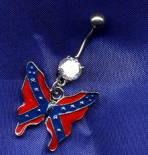 Confederate Butterfly Belly Ring