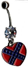 Confederate Heart Belly Ring