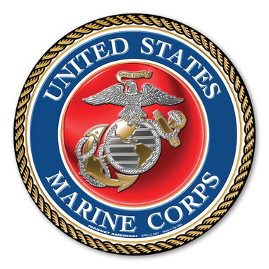 US Marines Round Wood Sign - Made In The USA