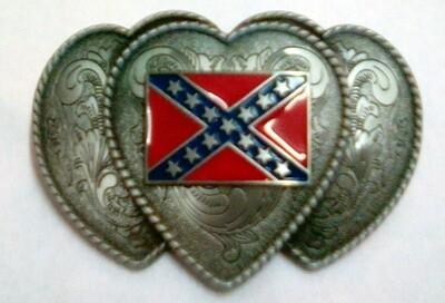 Triple Heart Confederate Belt Buckle
