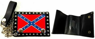 Rebel Leather Billfold w/ Chain - Small-Studded
