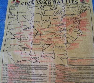 Civil War Battlefield Map 1861-1865