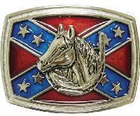 Horse With Battle Flag Belt Buckle