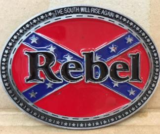 Rebel w/ Battle Flag Belt Buckle