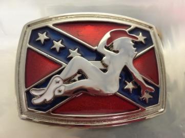 Southern Style Girl on Battle Flag Belt Buckle