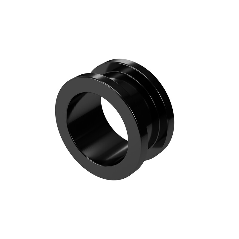14mm Steel Ear Tunnel Black Screw Back Plug Gothic Jewellery Alternative