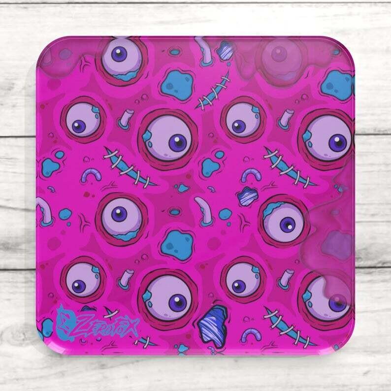 Pink Zombie Goo Custom Acrylic Coaster