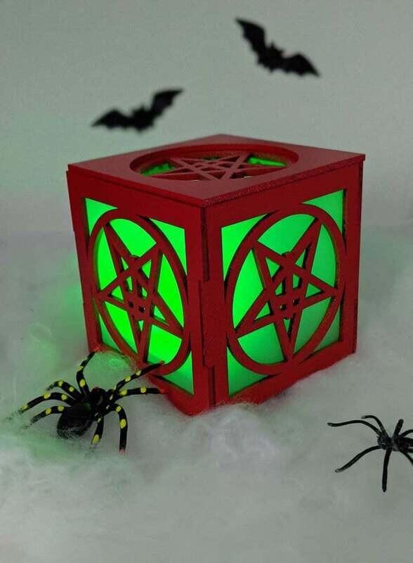 Red Pentagram Tea Light Lantern