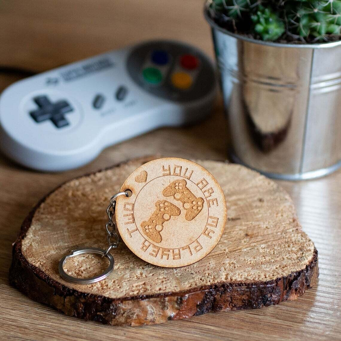 You Are My Player Two Wooden Keyring