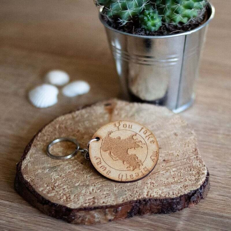 You Take My Breath Away Wooden Keyring