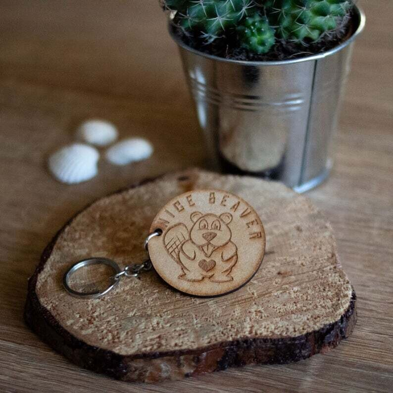 Nice Beaver Wooden Keyring