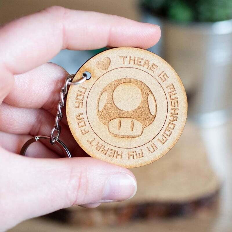 There Is Mushroom In My Heart For You Wooden Keyring