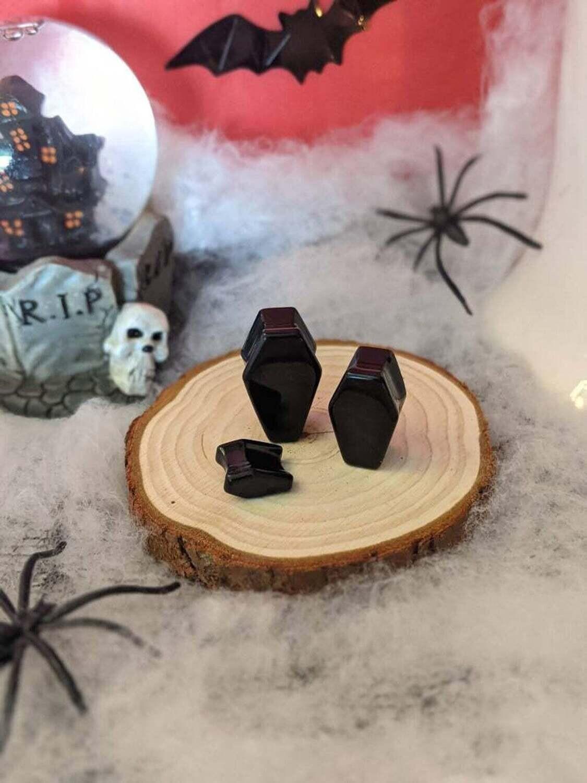 Plug Resin Coffin Black 10mm-30mm (Individual)