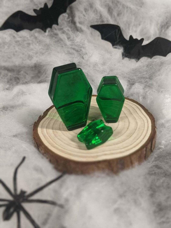 Plug Resin Coffin Emerald Green 10mm-30mm (Individual)