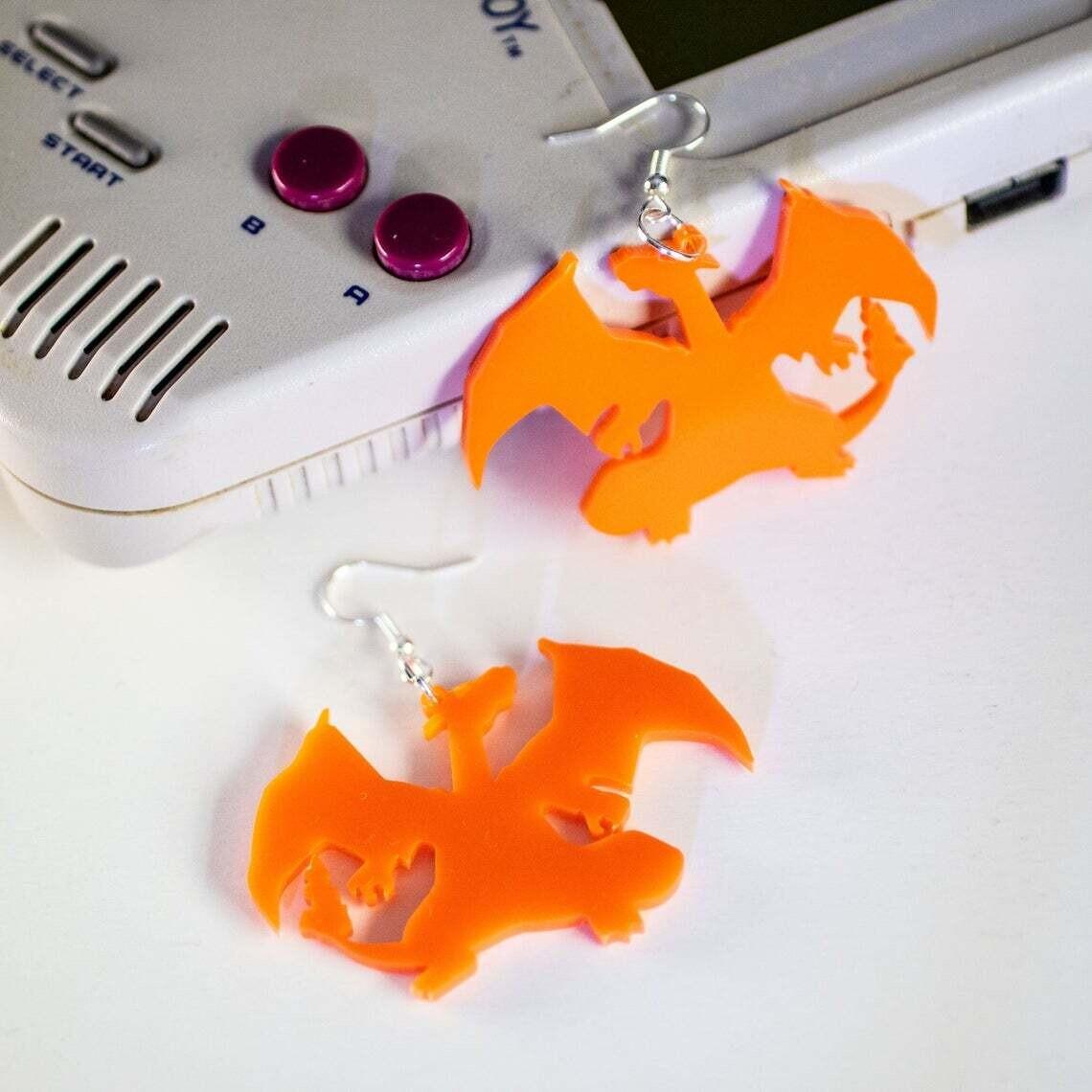 Earrings Acrylic Charizard Orange