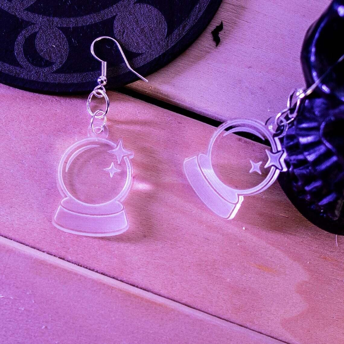 Earrings Acrylic Crystal Ball Clear