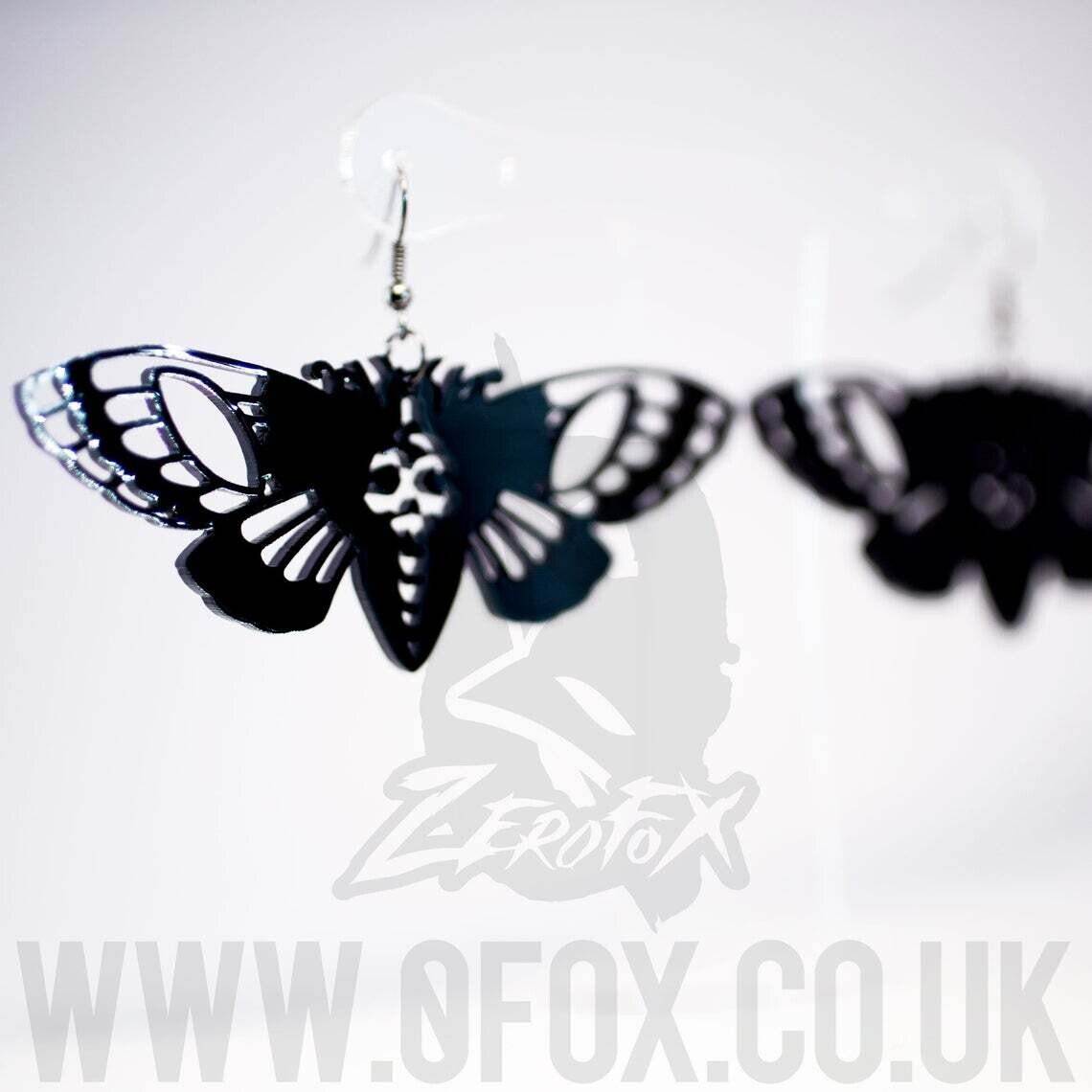 Earrings Acrylic Death Moth Black