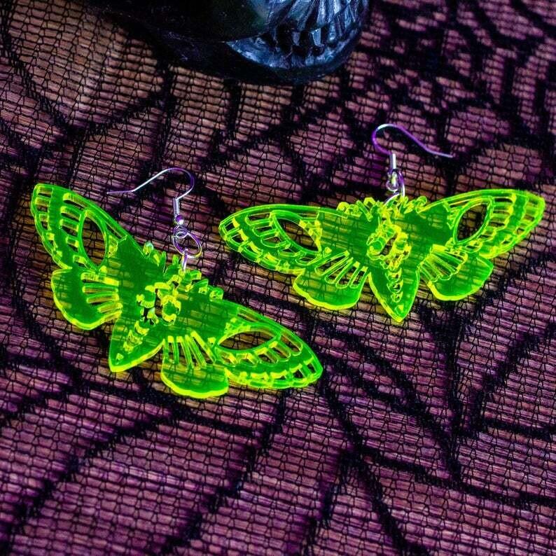 Earrings Acrylic Death Moth Clear UV Yellow