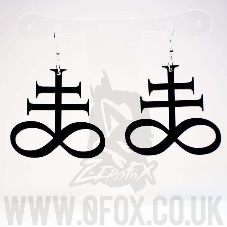 Leviathan Cross Black Acrylic  Earrings