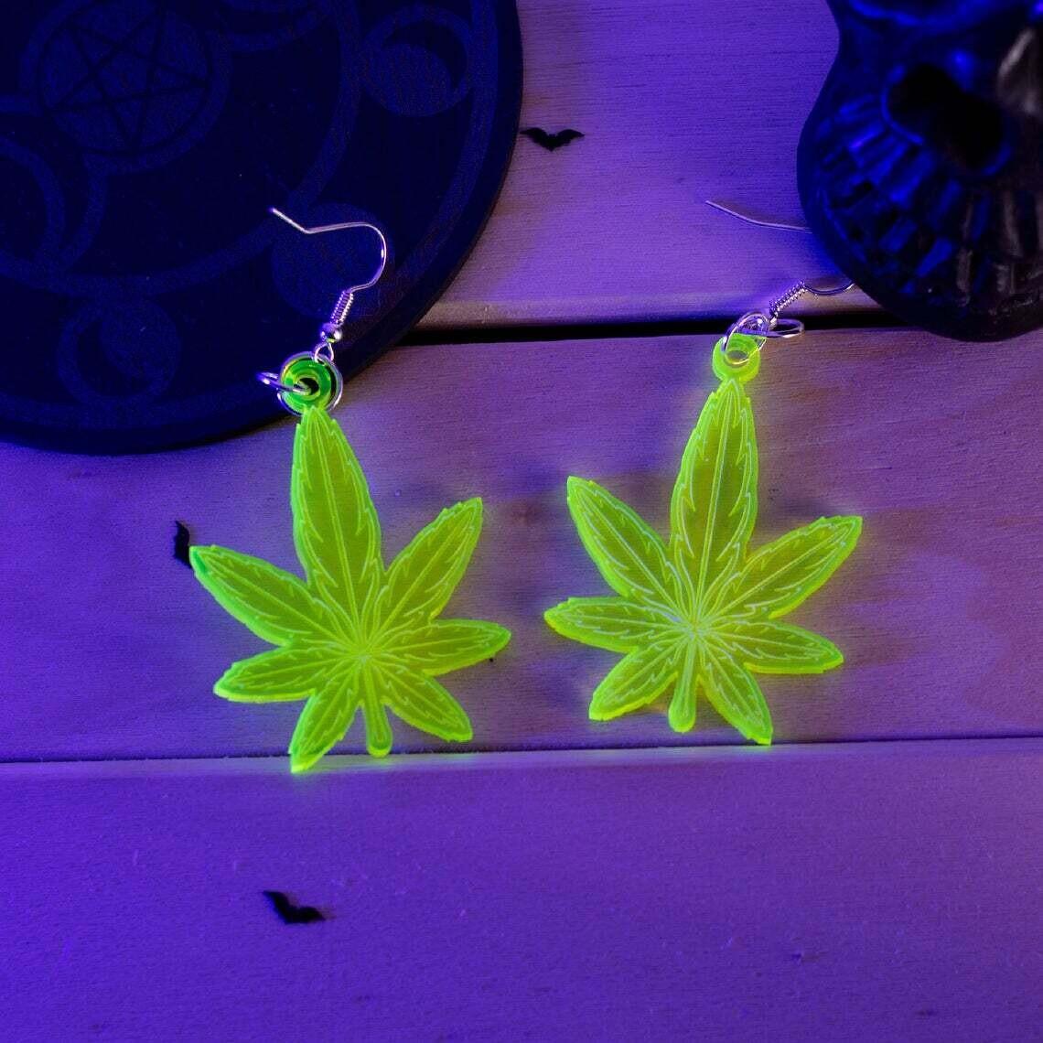 Weed Leaf UV Green Acrylic  Earrings