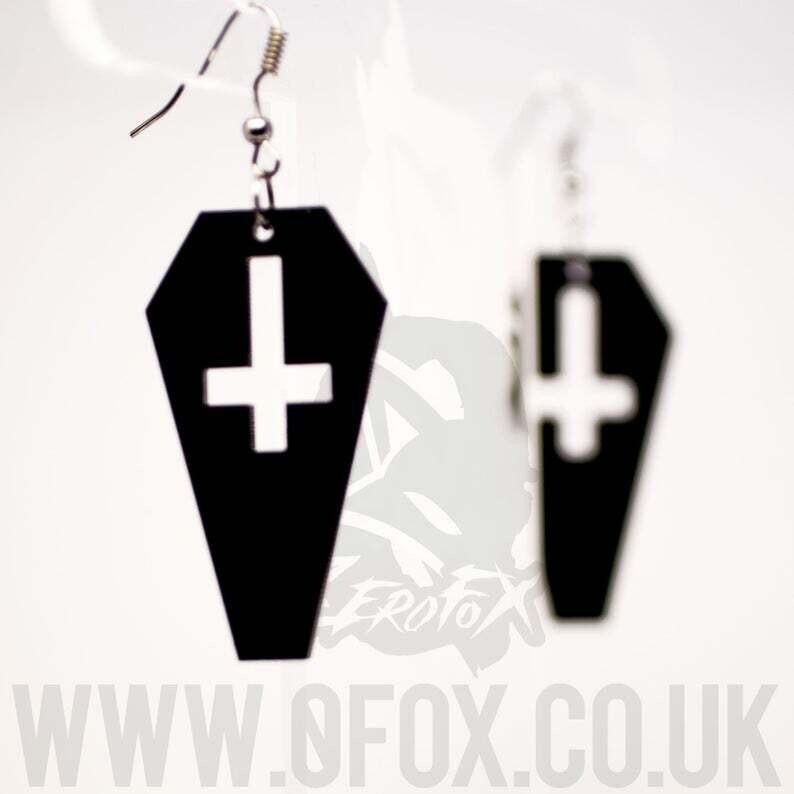 Inverted Cross Coffin Black Acrylic  Earrings