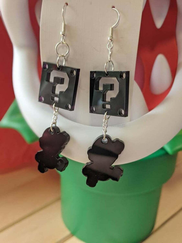 Mario and ? Block Earrings Black Acrylic