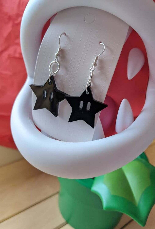 Star Power Earrings Black Acrylic