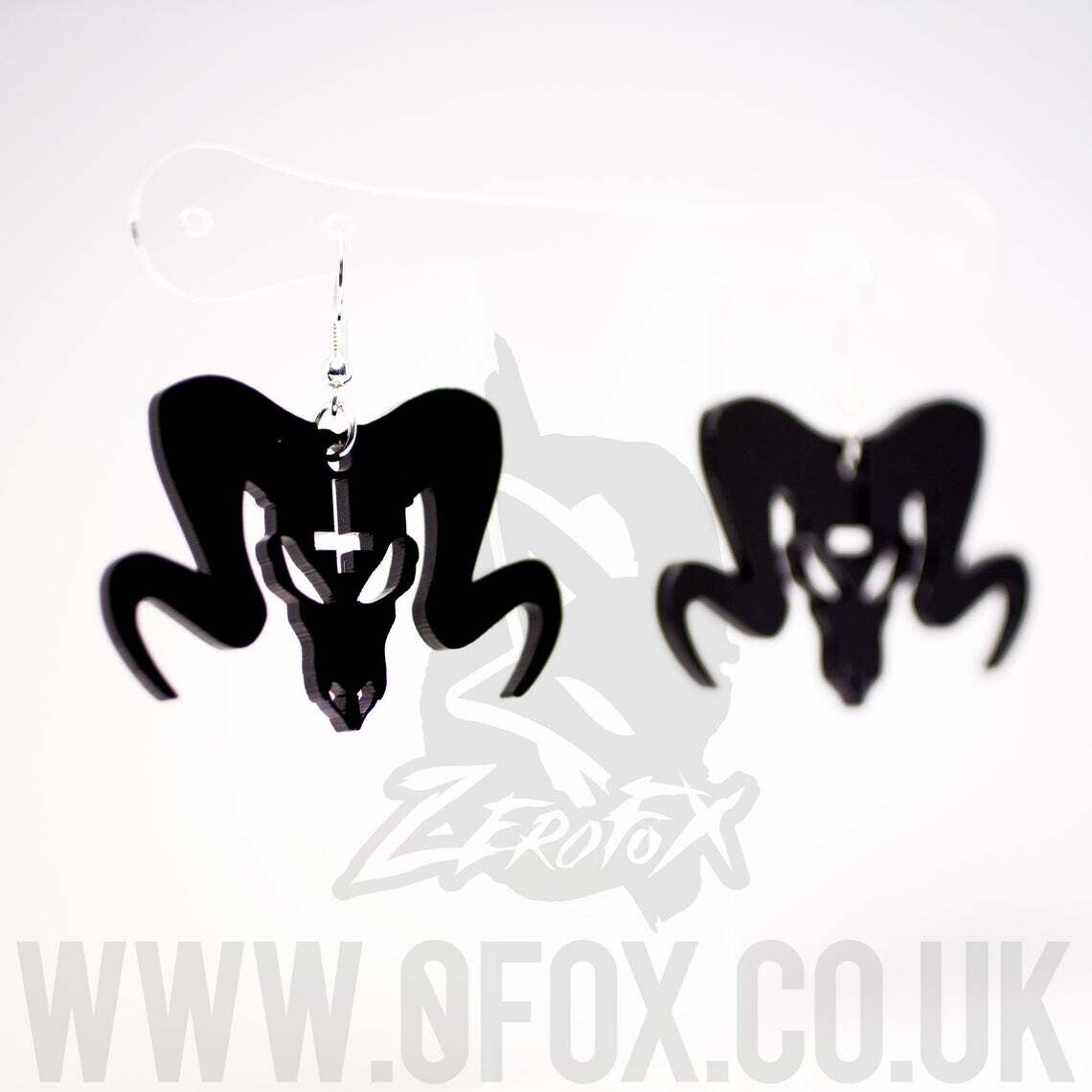 Ram Skull Earrings Black Acrylic