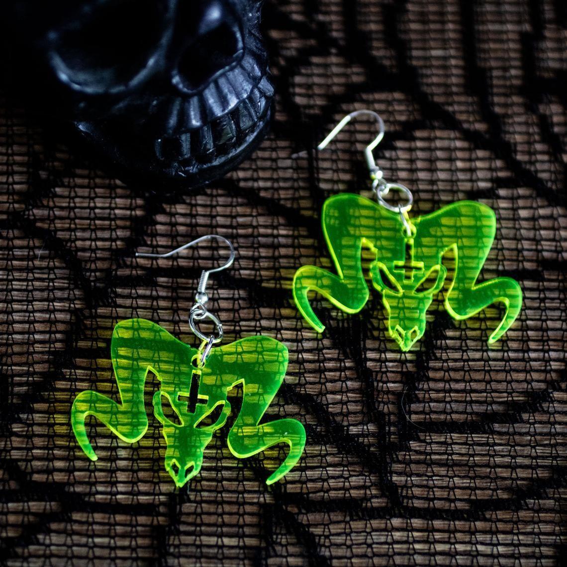 Ram Skull Earrings UV Clear Green Acrylic