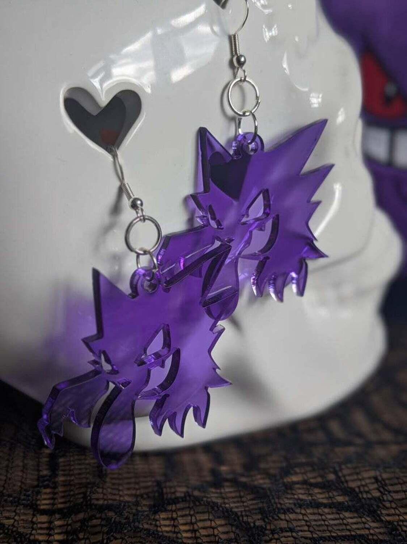 Haunter Earrings Clear Purple Acrylic