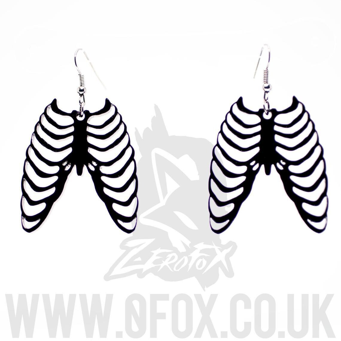 Rib Cage Earrings Black Acrylic