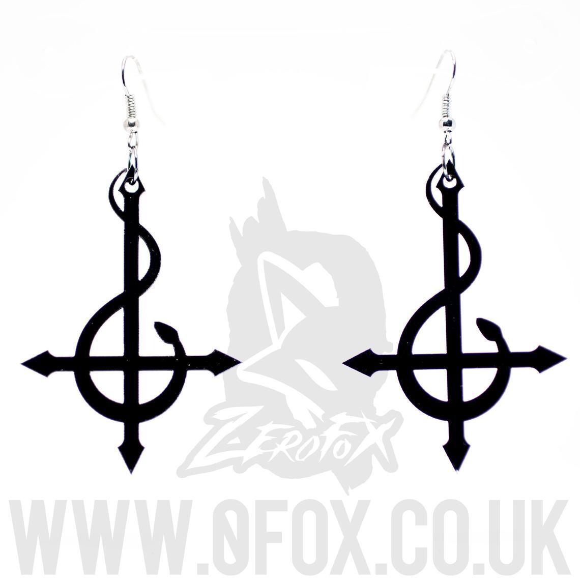 Snake Serpent Cross Earrings Black Acrylic