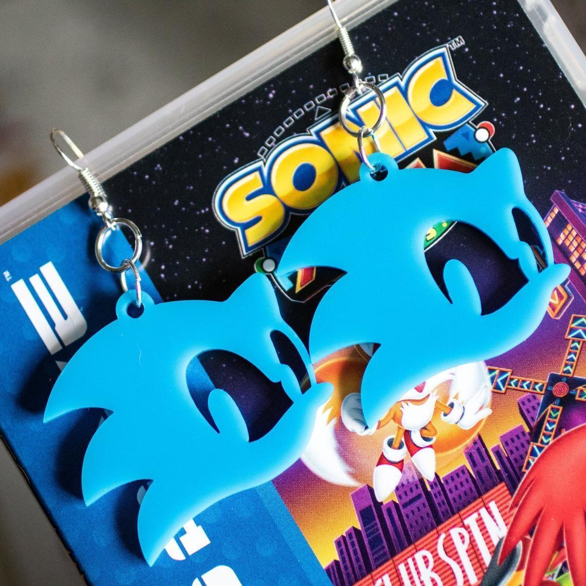 Sonic Earrings Blue Acrylic