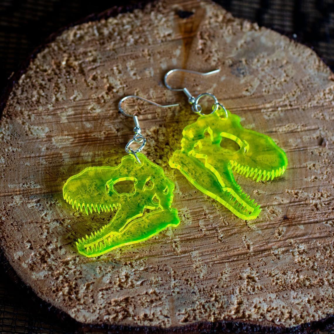 T Rex Clear UV Earrings Acrylic