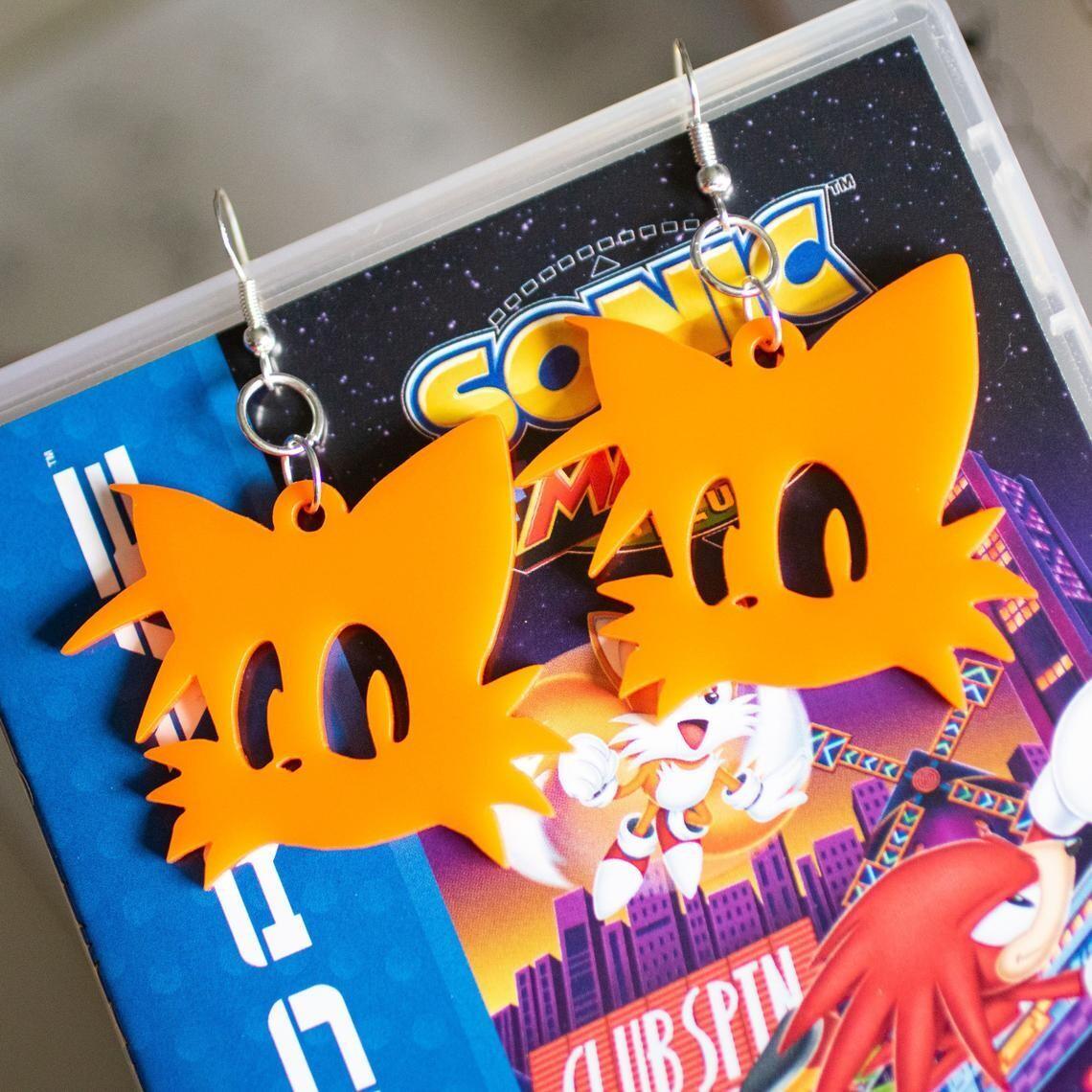 Tails Earrings Orange Acrylic