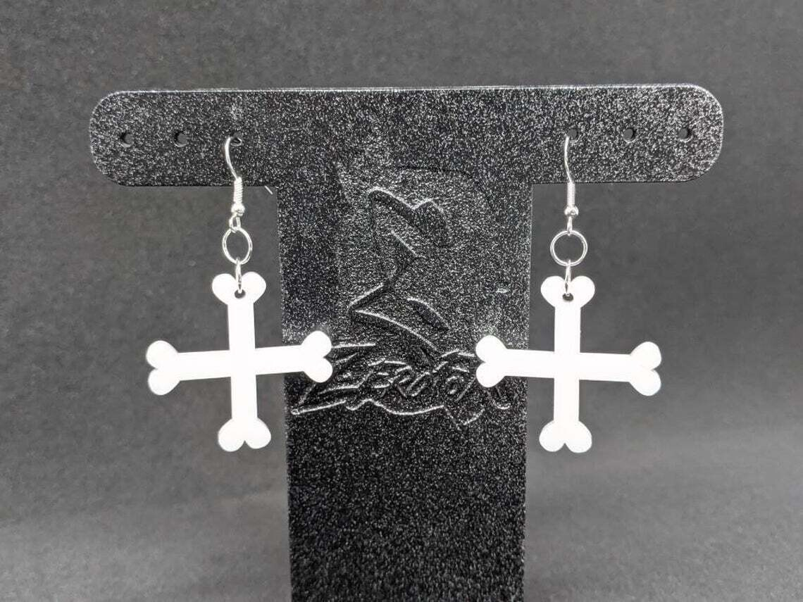 Earrings Acrylic Crossbones White