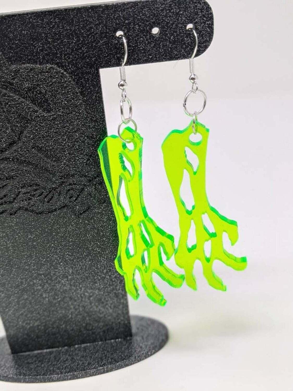 Earrings Acrylic Zombie Arm