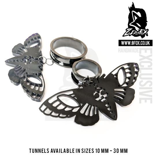 Dangle Tunnel Death Moth (Black) 10mm-50mm