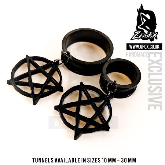 Dangle Tunnel Grunge Pentagram 10mm-50mm