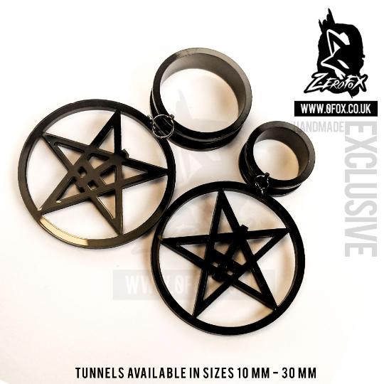 Dangle Tunnel Pentagram (Black) 10mm-50mm