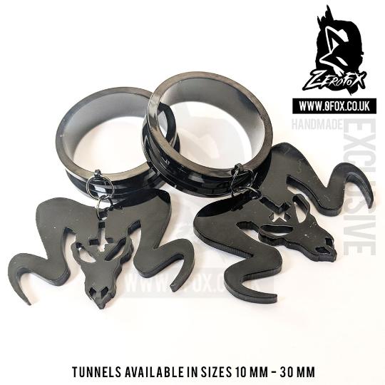 Dangle Tunnel Ram Skull (Black) 10mm-50mm