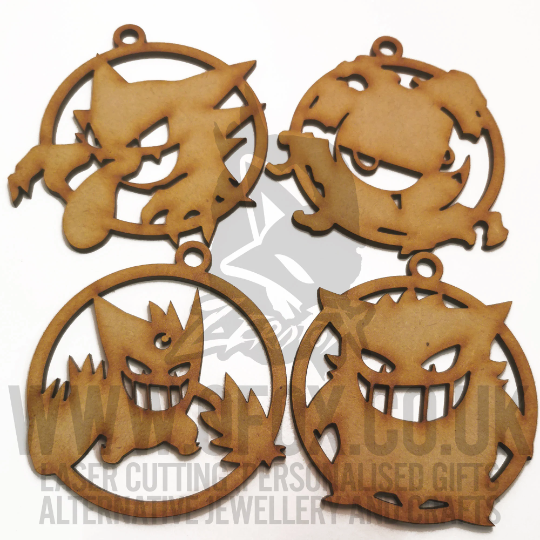 Ghost Type Craft Bauble Ornaments