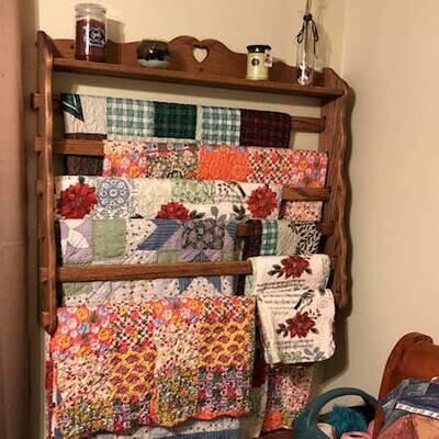 Six Bar Wall Quilt Hanger w/ Shelf