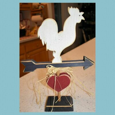 Hand Crafted Wooden Chicken on Arrow and Base