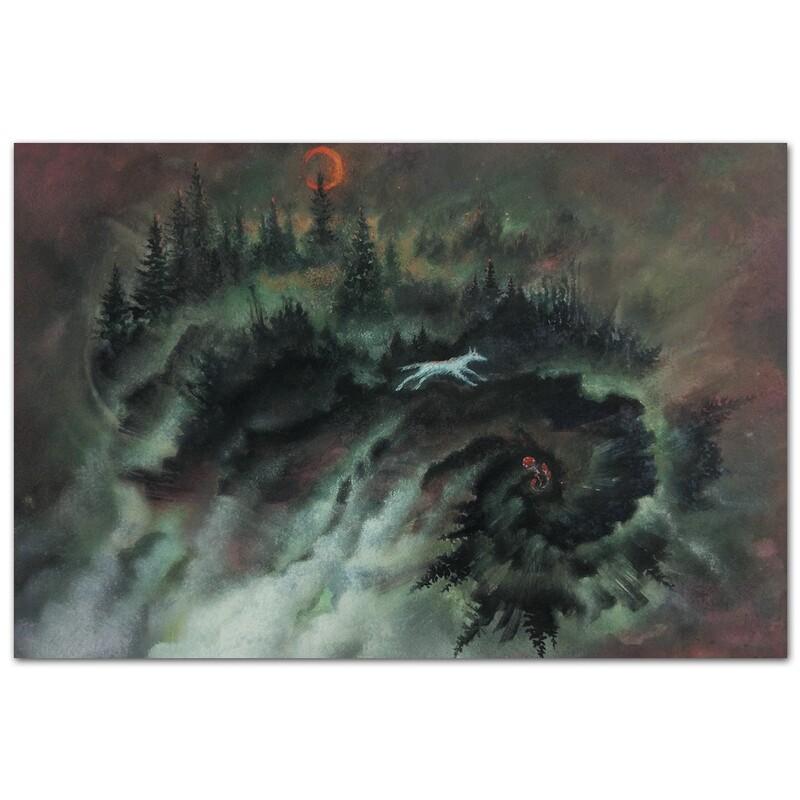 Серенький волчок в ночном лесу
