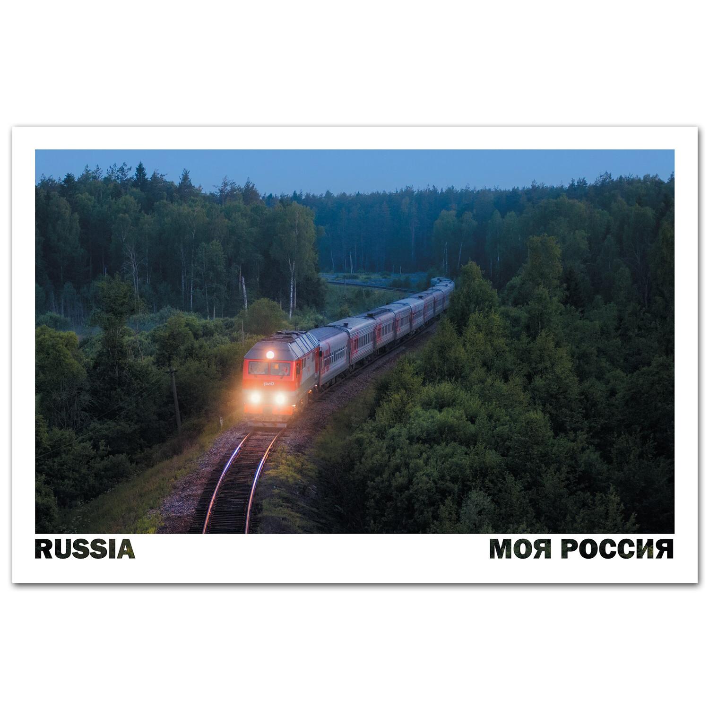 """Пассажирский поезд """"Москва-Иваново"""". Леса Владимирской области"""
