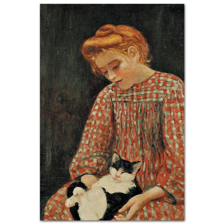 Девочка и котёнок. Шарль Камуан