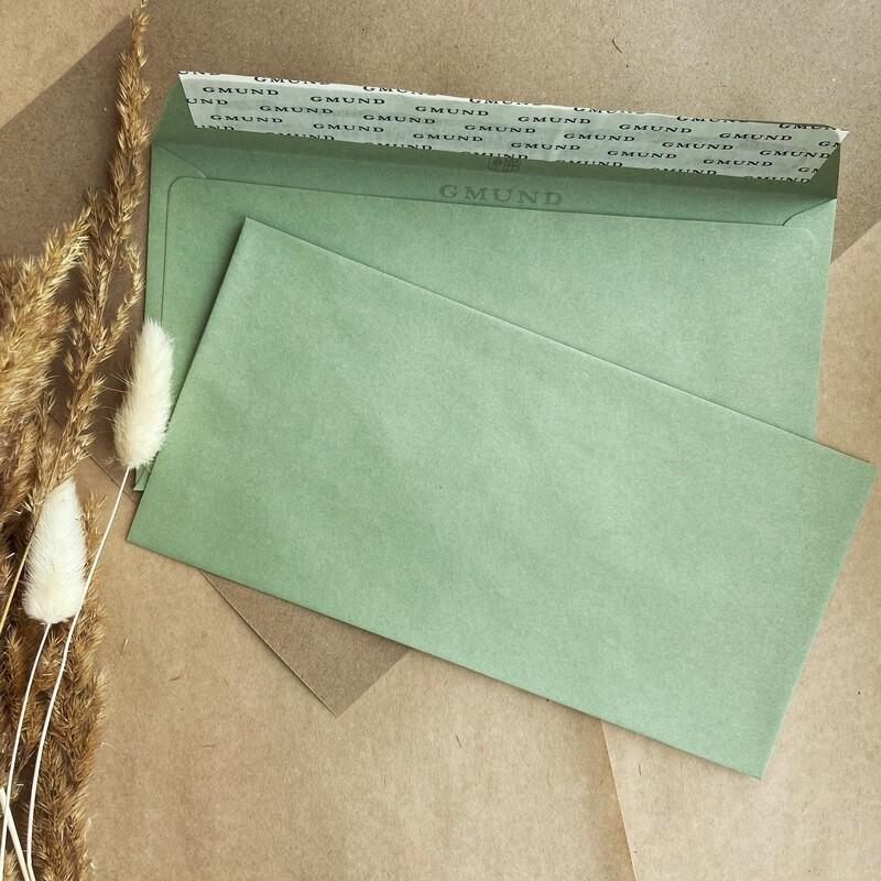 Мятный конверт 11х22 см
